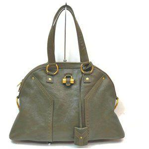 Yves Saint Laurent Shoulder Bag Grays Leather 7093